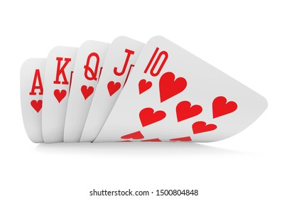 Royal Flush Playing Cards Isolated. 3D rendering