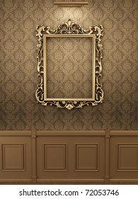 Royal golden frame on the wall in wooden interior. Gallery
