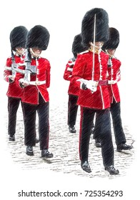 Royal Guard. London. Soldiers in classic red coats.