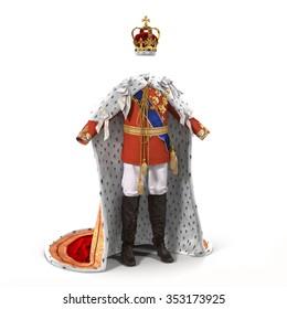 Royal King Costume on White Background