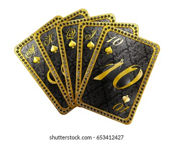 Royal poker hand of cards on ace of spades. 3D illustration on white background.