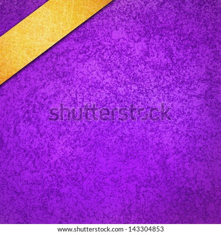 Royal Purple Background Gold Ribbon Angled In Corner