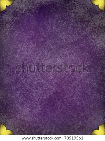 Royal Purple Grunge Background With Gold Corner Accent Designs Elegant Faded Old Texture And