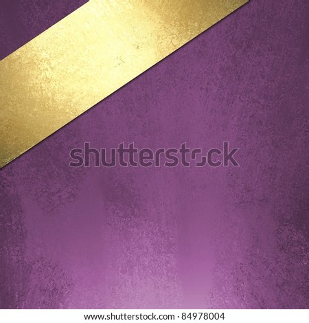 Royal Purple Painted Background Illustration With Pale Shiny Gold Ribbon Angled In A Corner Blank