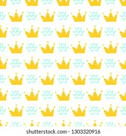 Royal seamless pattern background with cute doodle crowns. Doodle hand drawn illustration. Ready-to-print design template.