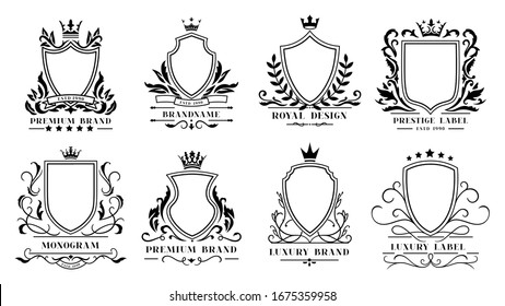 Royal shields badges. Vintage ornamental frames, decorative royal swirl heraldic borders and luxury filigree wedding emblems. Knights shield heraldic decoration isolated  icons set