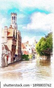 Rozenhoedkaai canal and Belfort tower in Bruges, digital generated painting