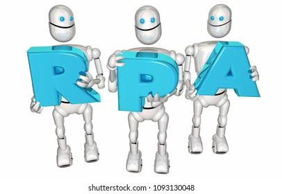 RPA Robotic Process Automation Robots Letters 3d Render Illustration