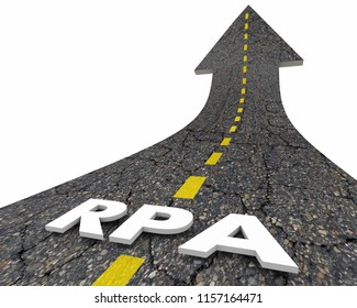RPA Robotic Process Automation Task Automating Road Word 3d Illustration