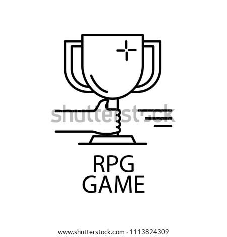 Rpg Game Outline Icon Element Gaming Stock Illustration - Game outline
