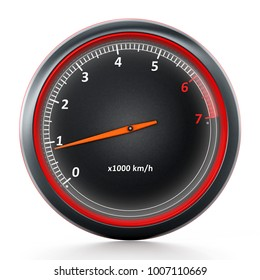 RPM meter isolated on white background. 3D illustration.
