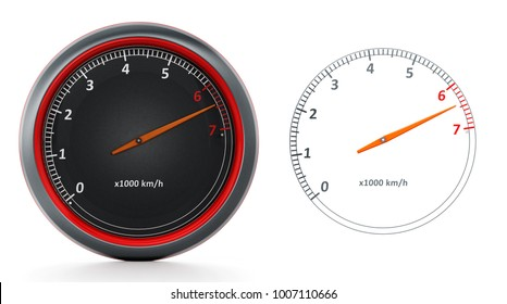 RPM meters isolated on white background. 3D illustration.