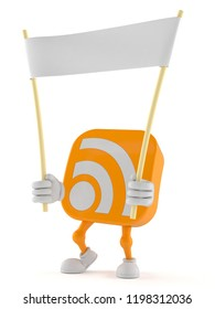 RSS character holding blank banner isolated on white background. 3d illustration