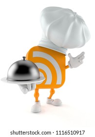 RSS character holding catering dome isolated on white background. 3d illustration