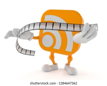 RSS character holding film strip isolated on white background. 3d illustration