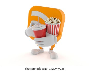 RSS character holding popcorn and soda isolated on white background. 3d illustration
