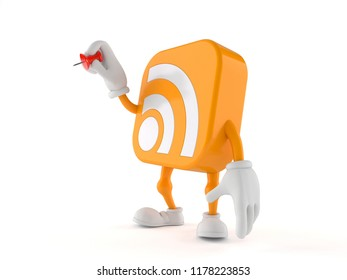 RSS character holding thumbtack isolated on white background. 3d illustration