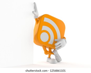 RSS character leaning against a wall isolated on white background. 3d illustration