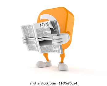 RSS character reading newspaper isolated on white background. 3d illustration