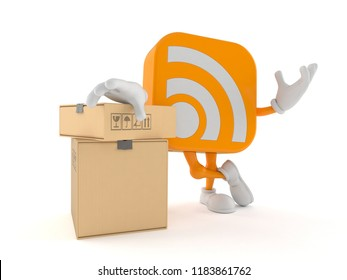 RSS character with stack of boxes isolated on white background. 3d illustration