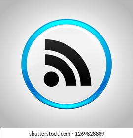 RSS Feed icon isolated on round blue push button