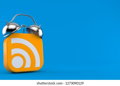 RSS icon with alarm clock isolated on blue background. 3d illustration