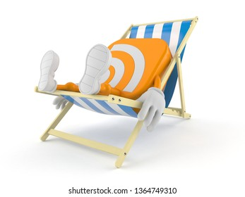 RSS icon character lying on deck chair isolated on white background. 3d illustration