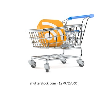RSS icon inside shopping cart isolated on white background. 3d illustration