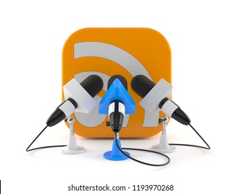 RSS icon with interview microphones isolated on white background. 3d illustration