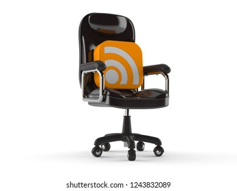RSS icon on business chair isolated on white background. 3d illustration