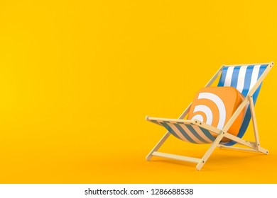 RSS icon on deck chair isolated on orange background. 3d illustration