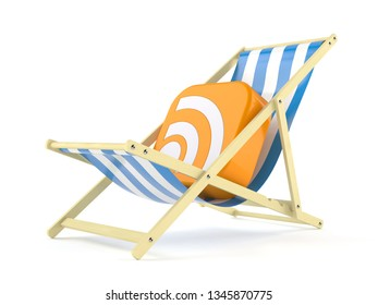 RSS icon on deck chair isolated on white background. 3d illustration