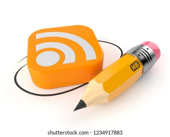 RSS icon with pencil isolated on white background. 3d illustration