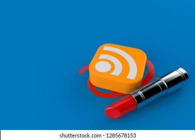 RSS icon selected with lipstick isolated on blue background. 3d illustration