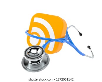 RSS icon with stethoscope isolated on white background. 3d illustration