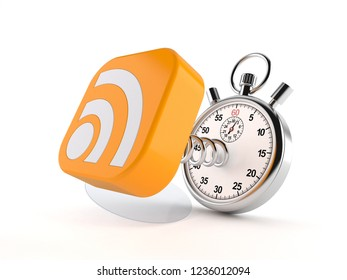 RSS icon with stopwatch isolated on white background. 3d illustration