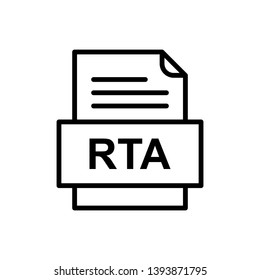 RTA File Document Icon In Trendy Style Isolated Background