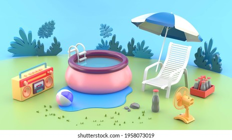 The rubber pool is surrounded by outdoor chairs, radio, fans and soft drinks. In the summer lawn.-3d rendering.