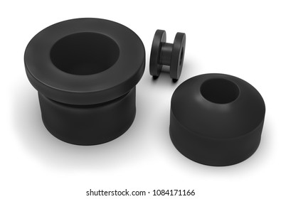 Rubber shock absorbers isolated on white. 3d rendering
