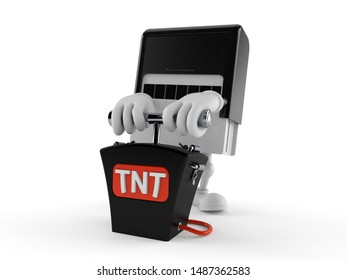 Rubber stamp character with bomb detonator isolated on white background. 3d illustration