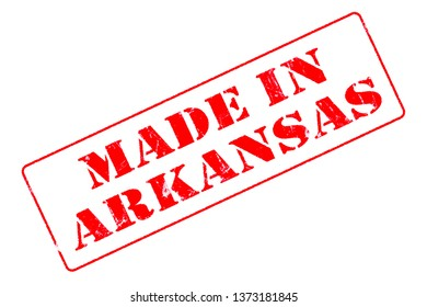 Rubber stamp concept showing a red stamp reading Made in Arkansas