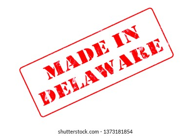 Rubber stamp concept showing a red stamp reading Made in Delaware
