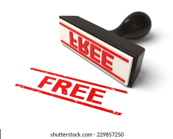 A rubber stamp with free in red ink.3d image. Isolated white background.