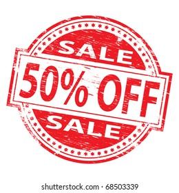 """Rubber stamp illustration showing """"50% Off"""" text"""