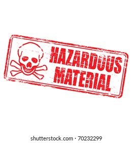 "Rubber stamp illustration showing ""HAZARDOUS MATERIAL"" text and skull & bones symbol"