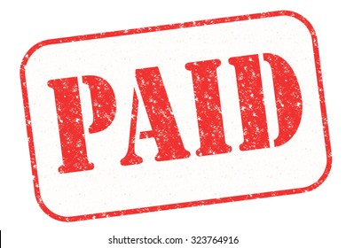 """Rubber stamp """"PAID"""" on white"""