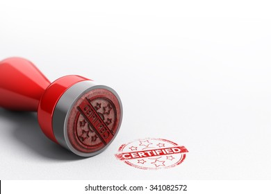 Rubber stamp seal over paper background with the word certified printed on it. Concept image for illustration of certification