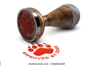 Rubber stamp with the text approved by dogs over white background. 3D illustration. Concept of pets grooming or training satisfaction