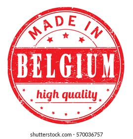 "rubber stamp with text ""made in Belgium, high quality"" on white"