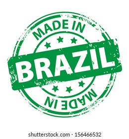 Rubber stamp with text Made in Brazil icon isolated on white background. illustration
